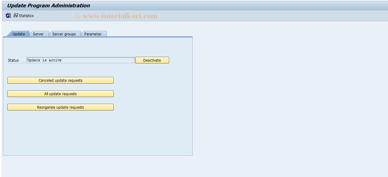 SAP TCode SM14 - Update Program Administration