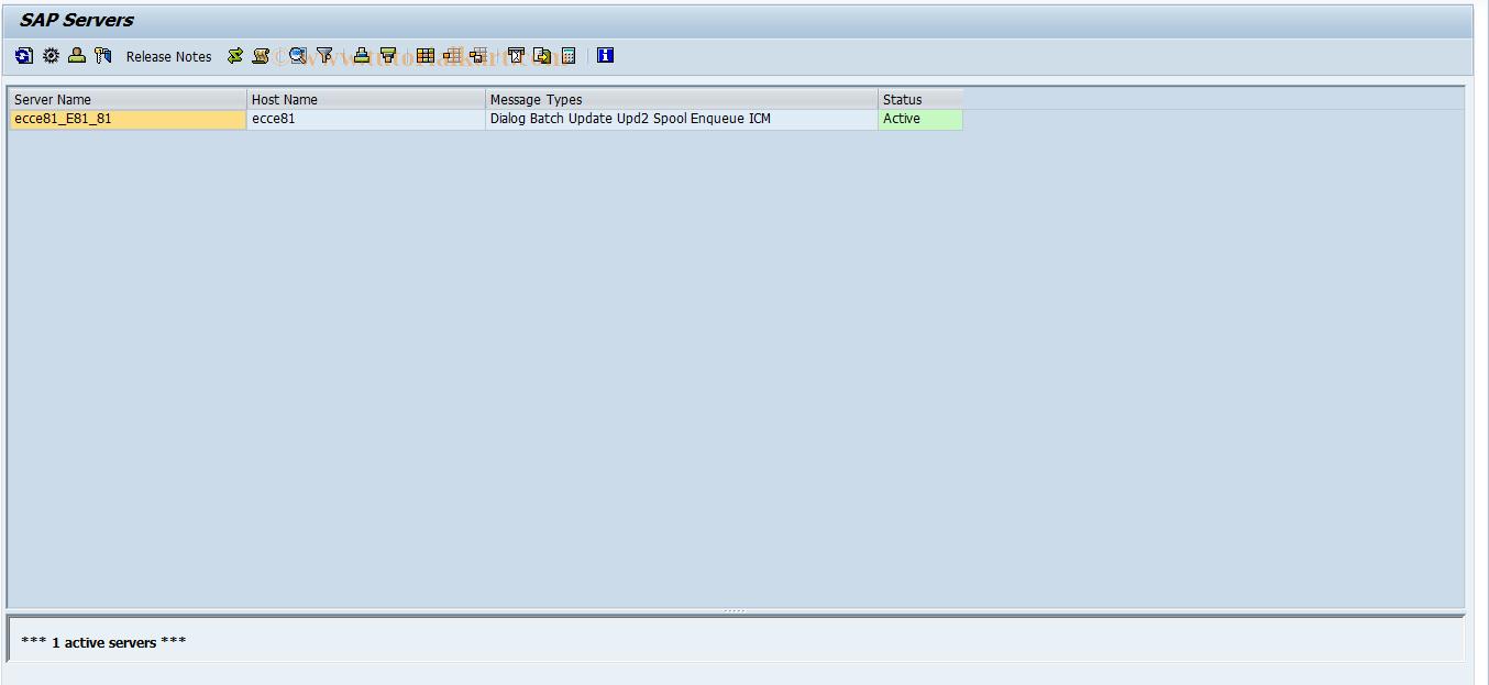 SAP TCode SM51 - Server List