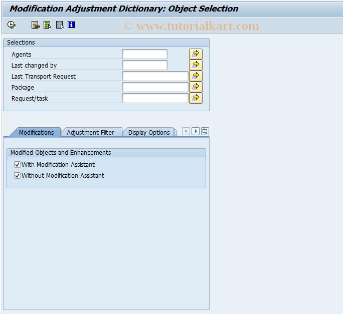 SAP TCode SPDD - Display Modified DDIC Objects