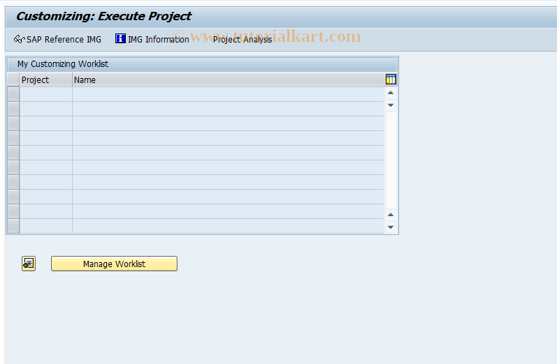 SAP TCode SPRO - Customizing - Edit Project