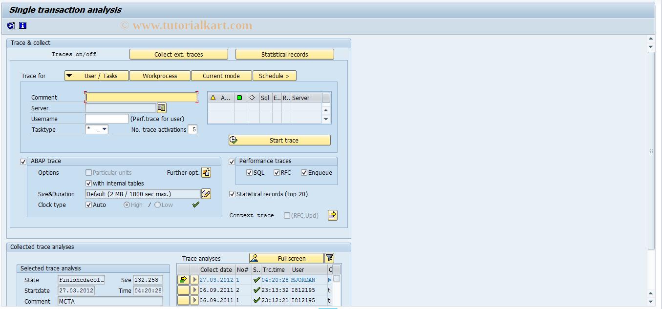 SAP TCode ST12 - Single transaction analysis