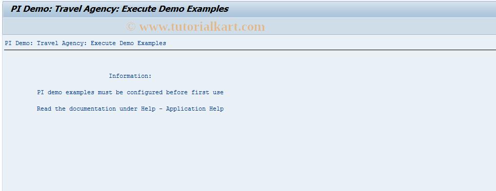 SAP TCode SXIDEMO - PI Demo: Start of Application