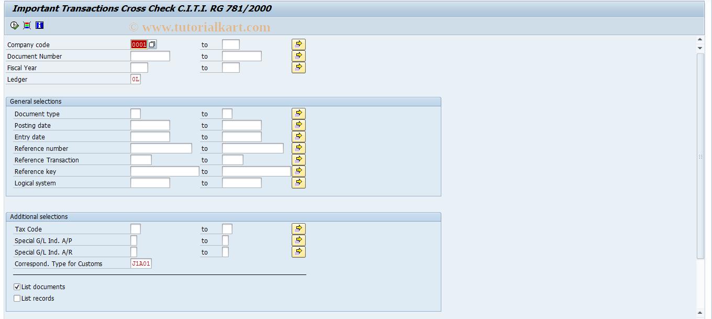 SAP TCode S_AL0_96000640 - Significant Transaction Cross Check CTTI