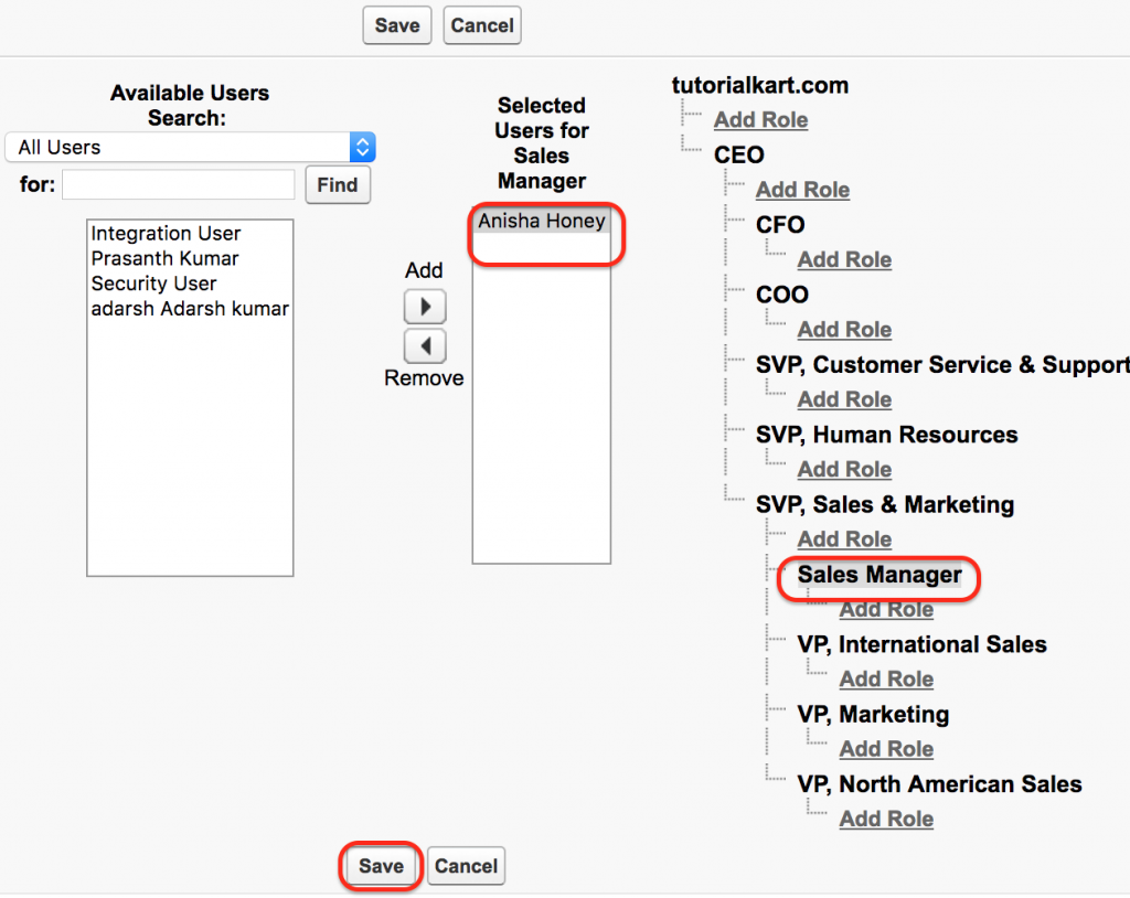 Role hierarchies in Salesforce