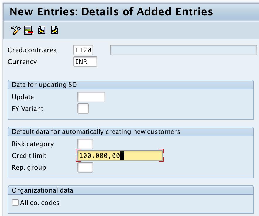 Define Credit Control Area in SAP