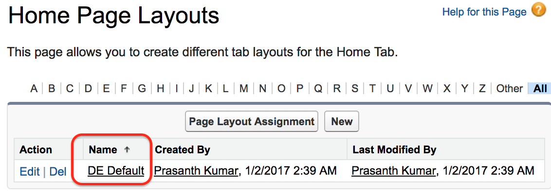 Home page Layout in Salesforce