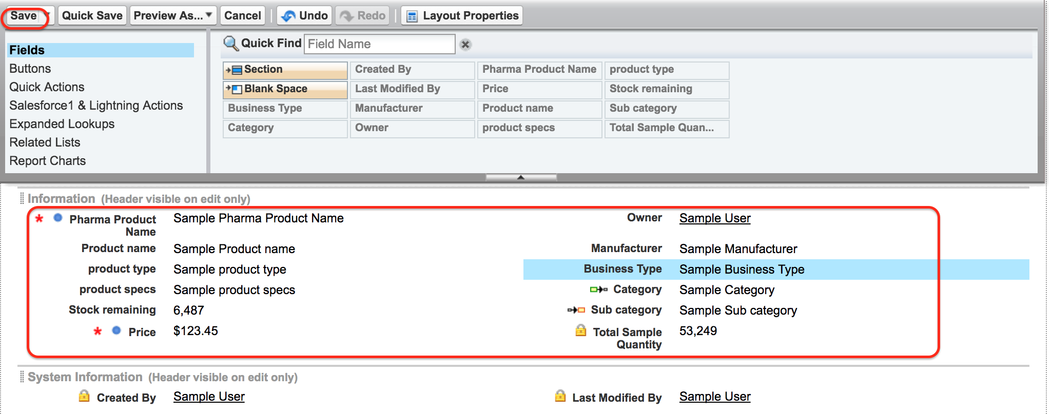 Page Layout in Salesforce