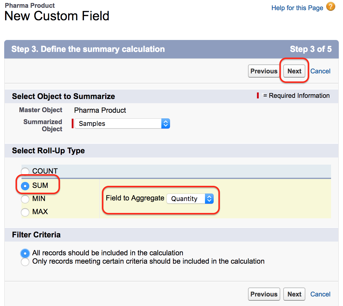Salesforce Rollup Summary Fields