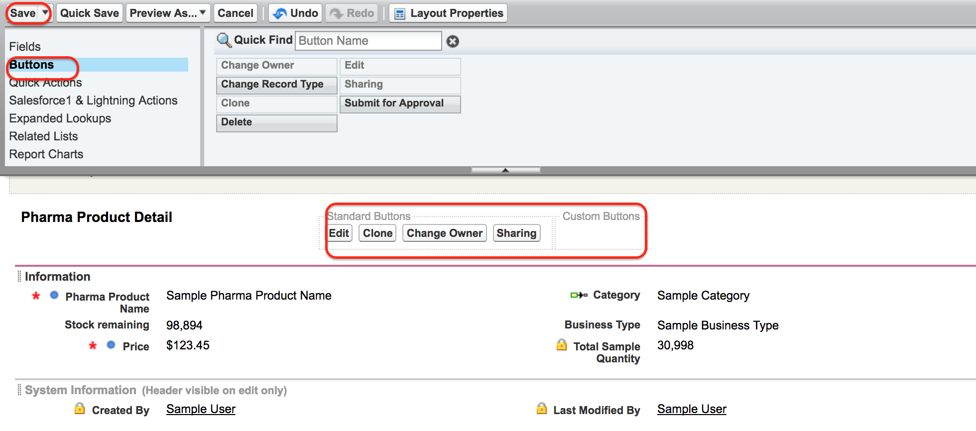 Custom page layouts in Salesforce