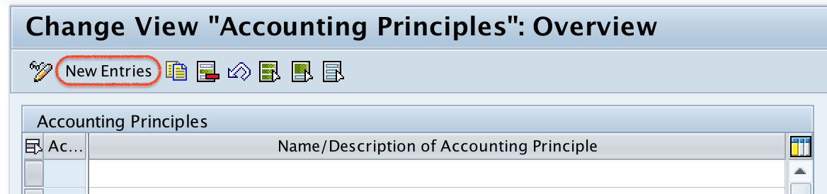 Accounting Principles overview screen