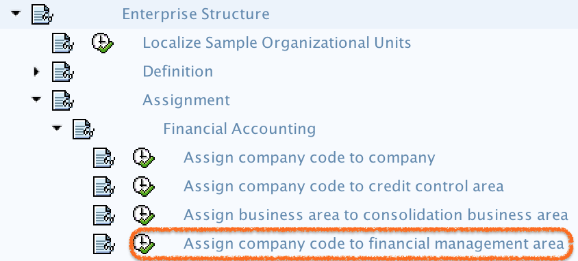 Assign company code to financial management area path