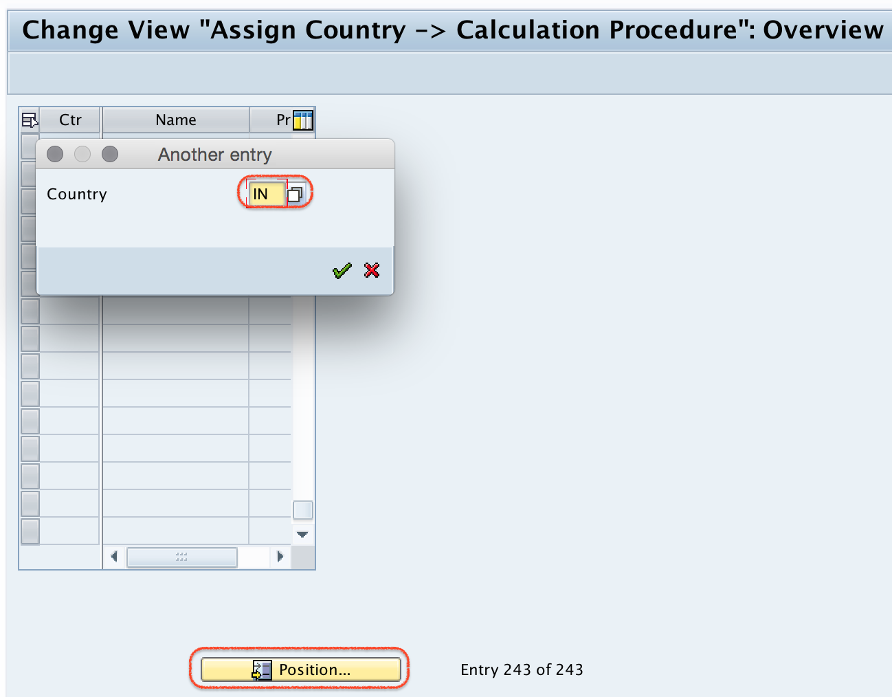 Assign country to calculation procedure
