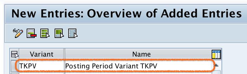 Define Posting Period Variant in SAP