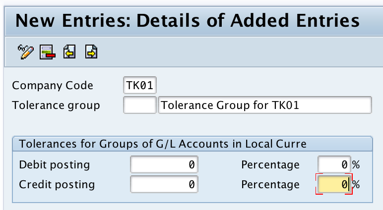 Define Tolerance Groups for G/L Accounts in SAP