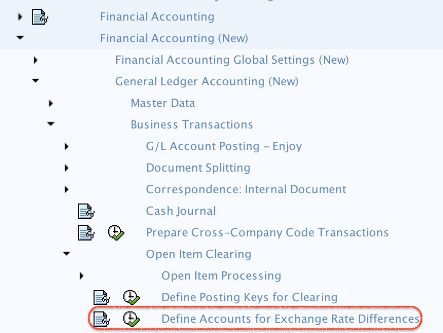 Define accounts for exchange differences path