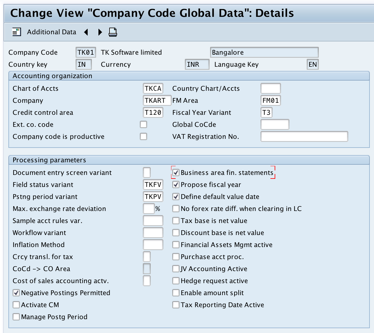Enter Company Code Global Parameters in SAP