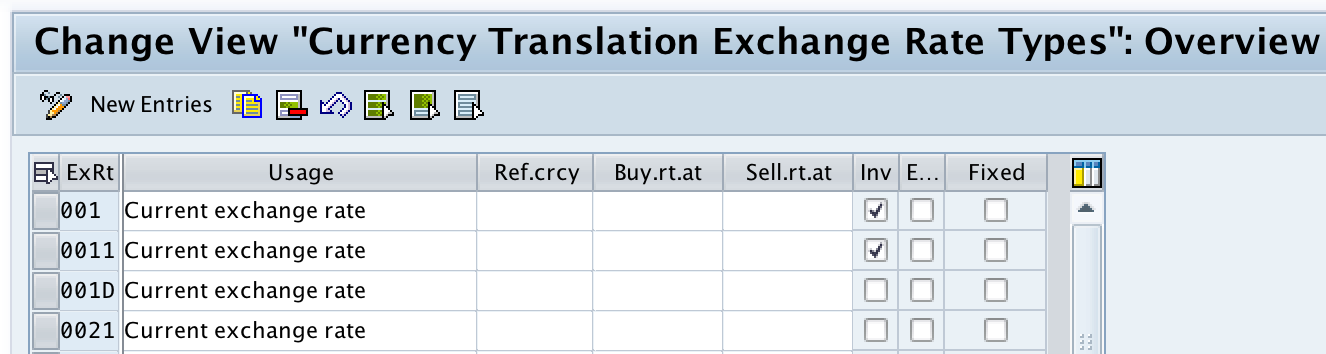 Check exchange rate types in SAP FICO