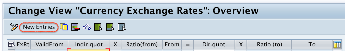 Maintain Exchange rates new entries