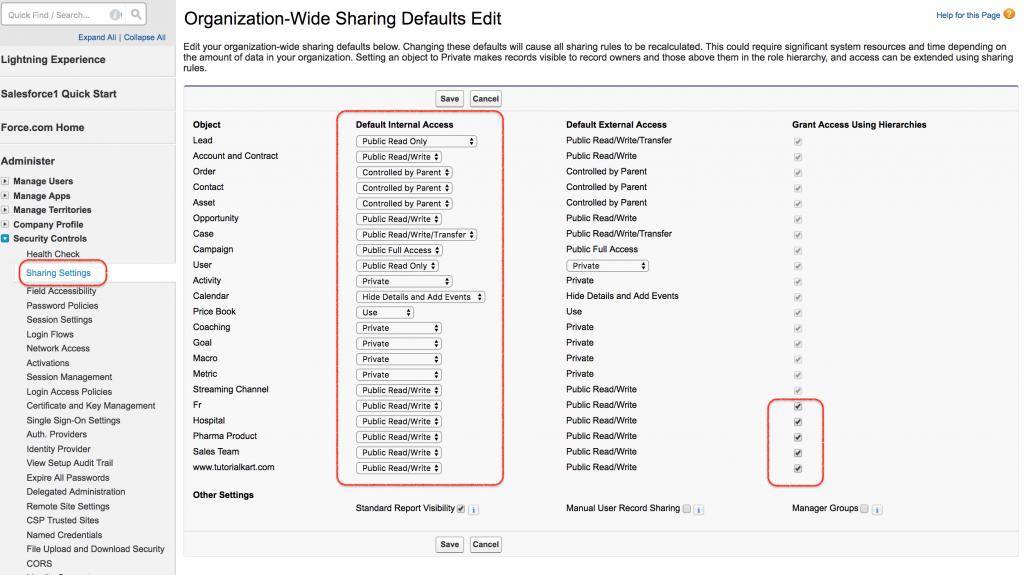 Organization wide default settings in Salesforce