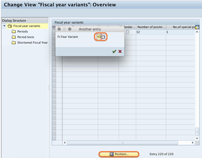 SAP V3 fiscal year variant key