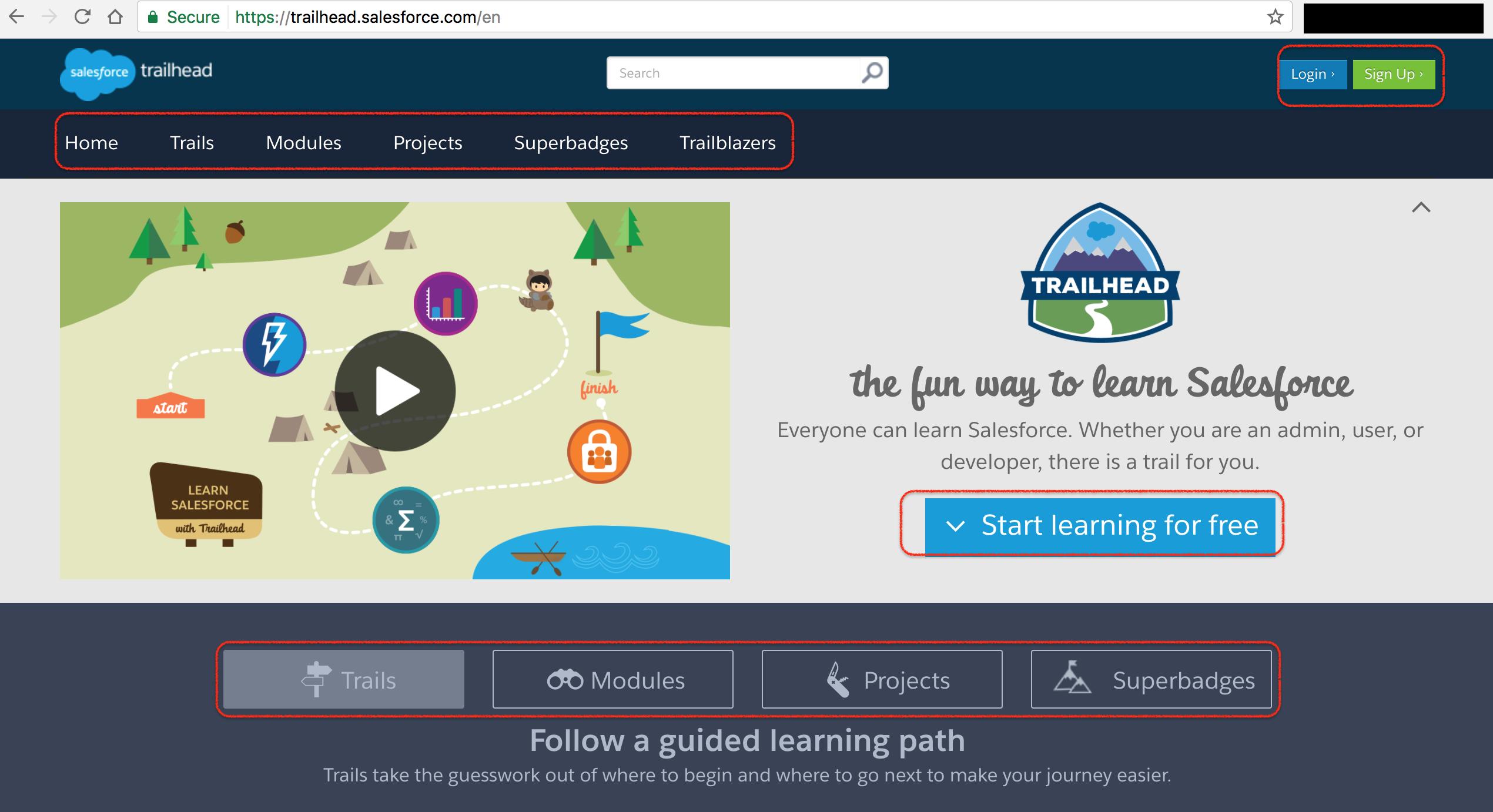 Salesforce Trailhead - Trails, Modules, Projects, Superbadges