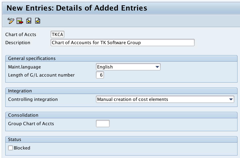 create chart of accounts in SAP