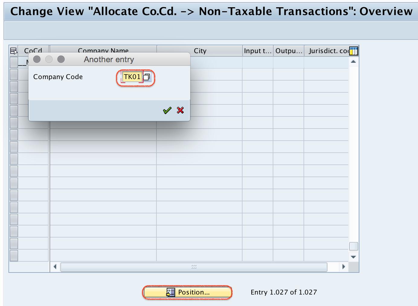 allocate company code to Non taxable transactions