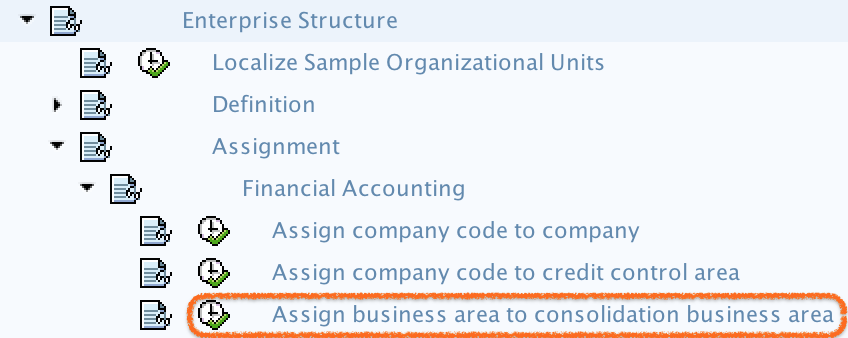 assign business area to consolidation business area Path