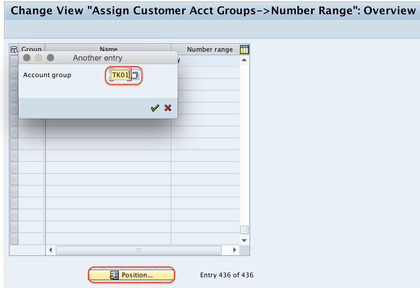 Assign Customer Acct Groups --> Number Range overview