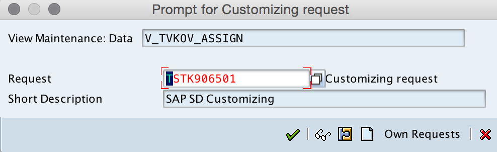 Assign Distribution Channel to Sales organization request