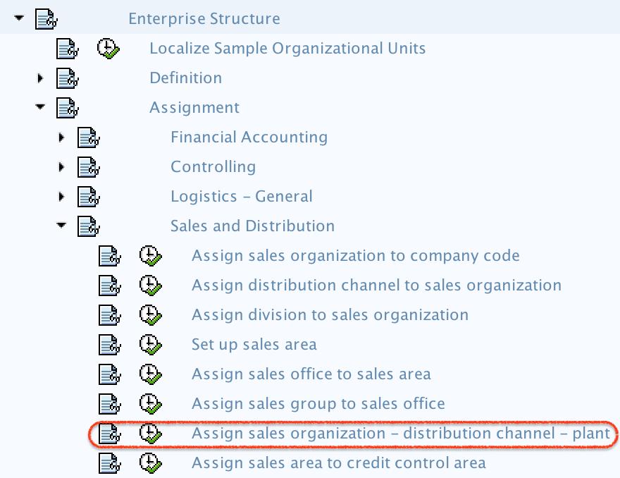 Assign Sales organization, Distribution Channel, Plant path