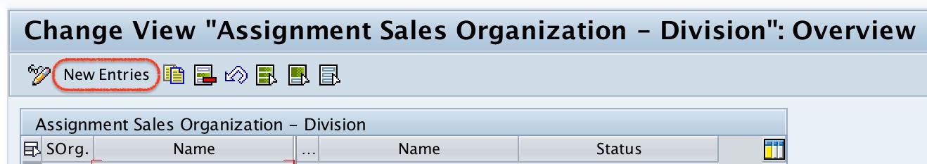 Assignment sales organization -- Division SAP