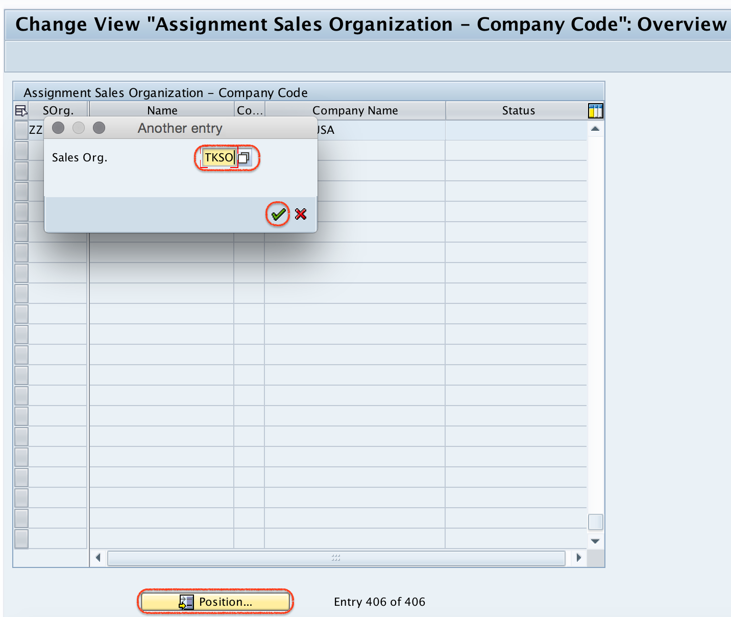 Assignment sales organization - company code