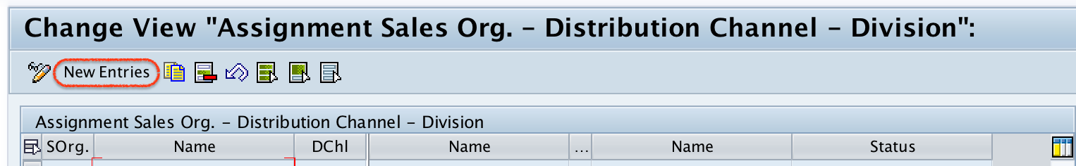 Assignment sales organization, distribution channel and division