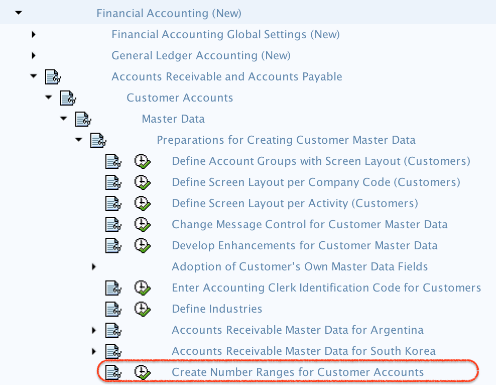 Create Number Ranges for Customer Account Groups menu path