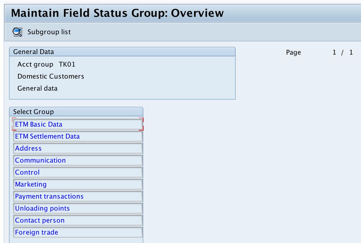 Customer Account Groups General Data field status
