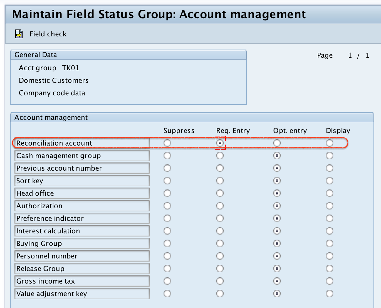 Customer Account Groups company code field status group