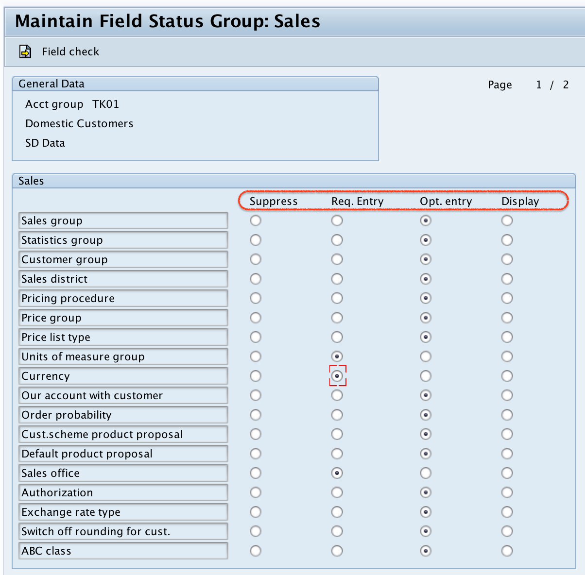 Customer account group in SAP Sales