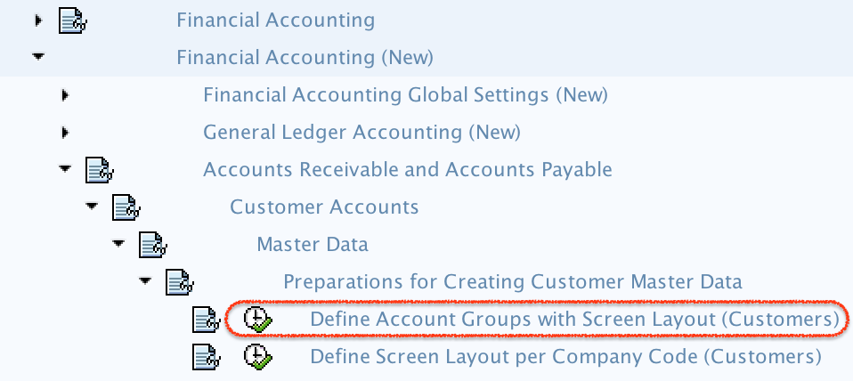 Define Customer Account Groups in SAP - menu path