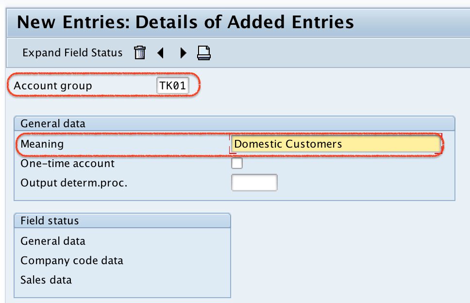 Define Customer Account Groups in SAP