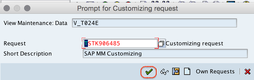 Purchase orgnization customizing request