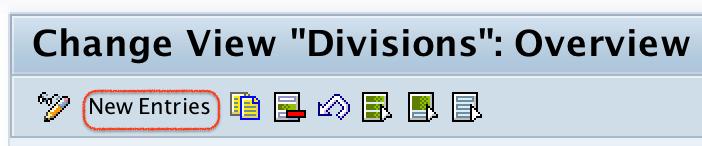 SAP Divisions new entries