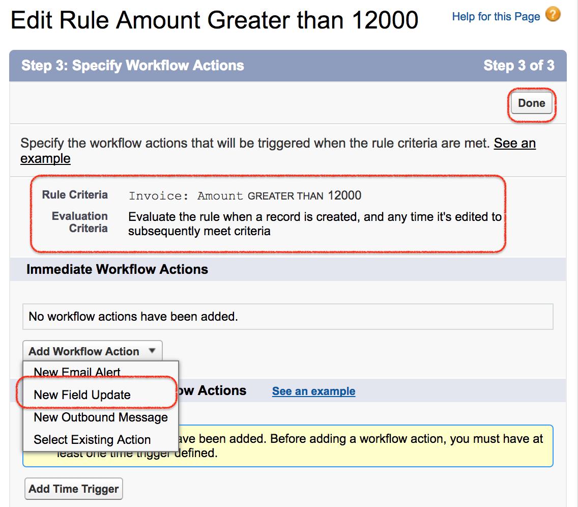Salesforce Workflow Actions Tasks Email Alert Field Update