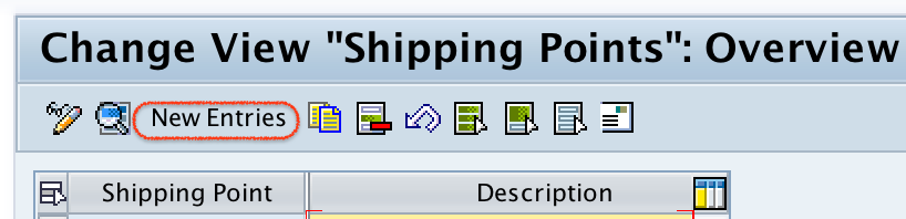 Shipping point overview screen