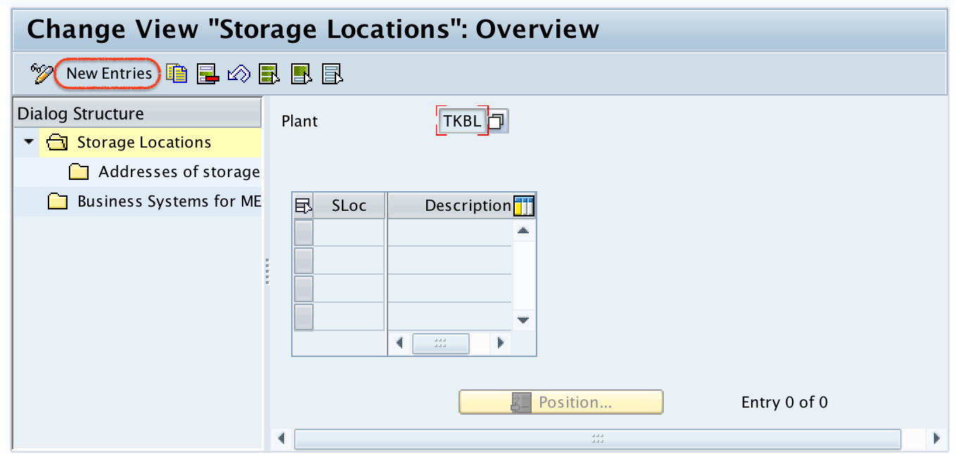 Storage location in SAP - new entries