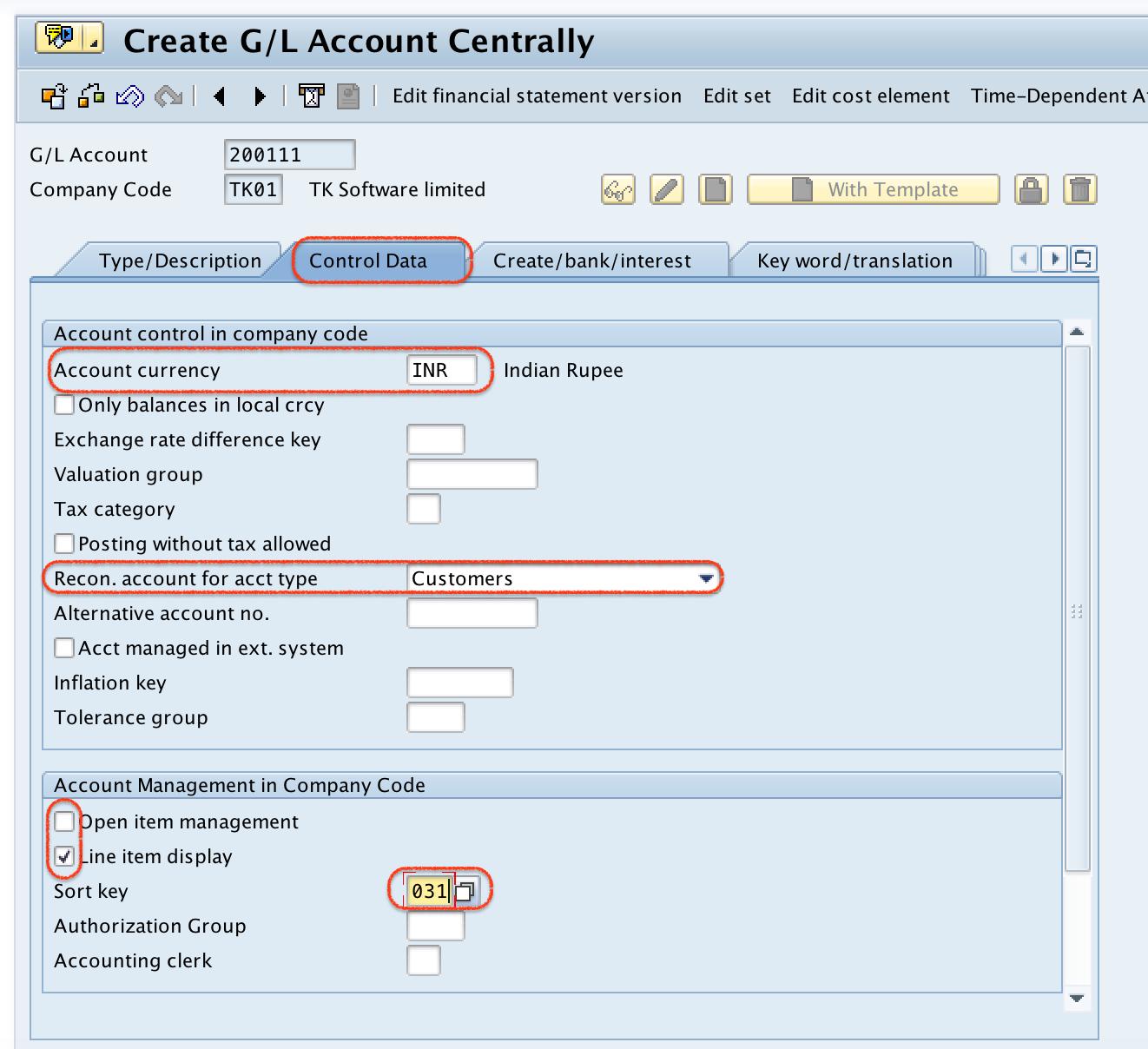 Sundry Debtors SAP control data