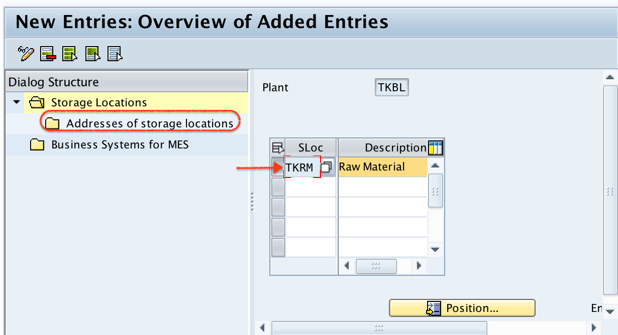 addresses for storage location SAP