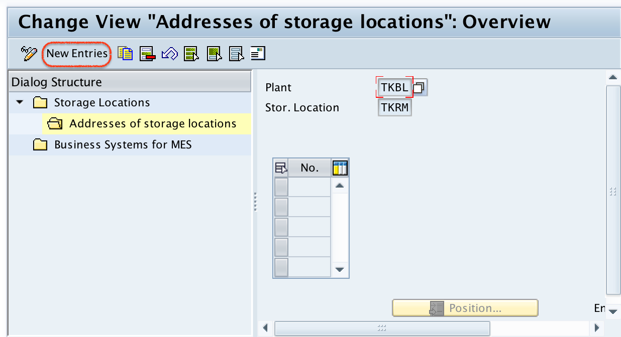 addresses of storage locations new entries SAP