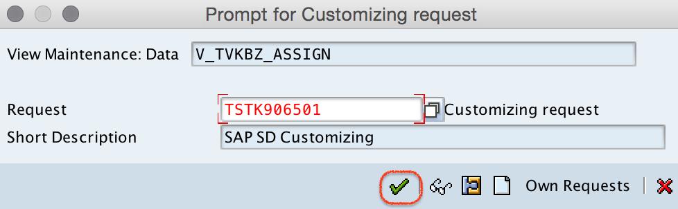 customizing request assignment sales area