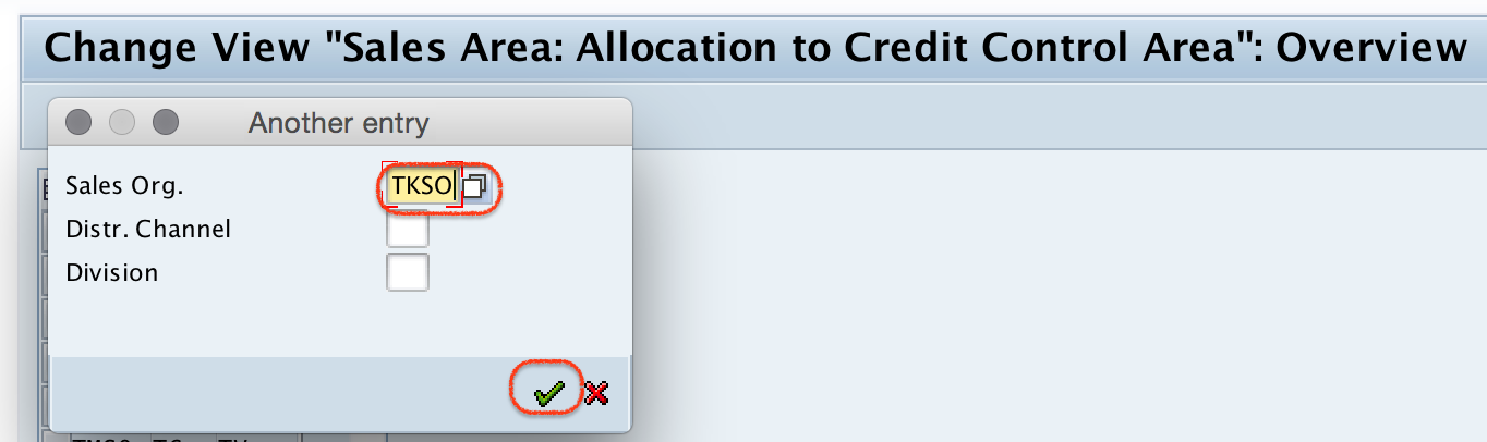 sales area: allocation to credit control area overview
